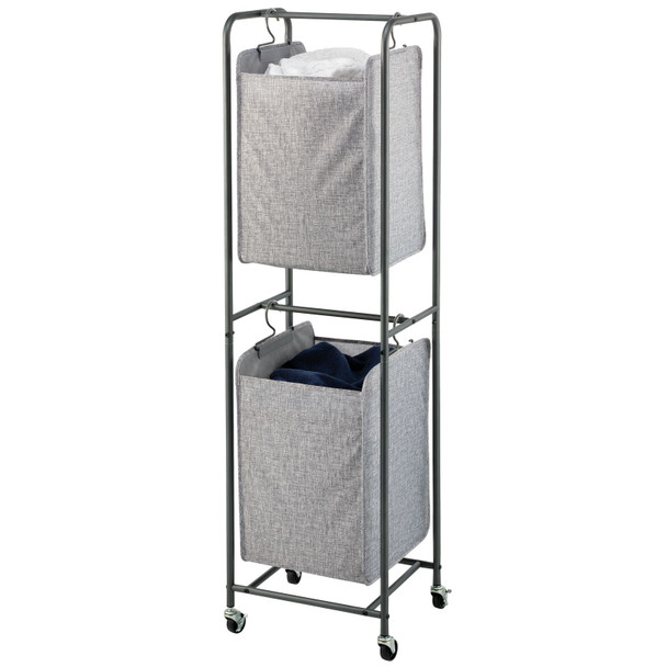 Fabric Vertical Stacked Laundry Hamper Basket with Wheels, Dark Gray
