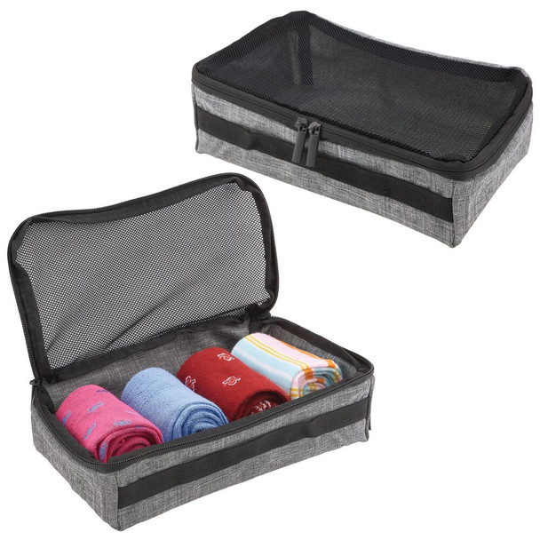 Fabric Travel Packing Cubes - Gray/Black