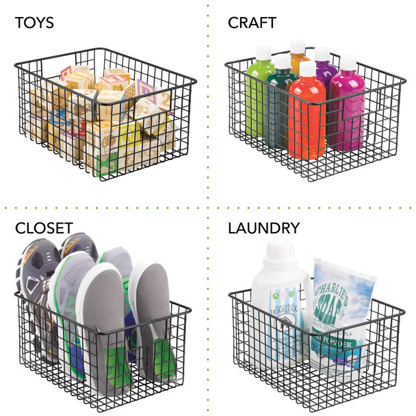 Metal Wire Closet Bins with Handles - 12 x 9 x 6