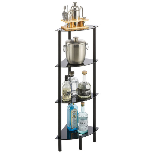 4 Tier Glass + Metal Storage Shelf