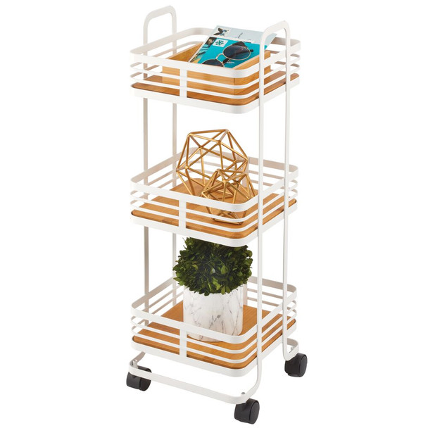3-Tier Square Rolling Cart with Wood Finish