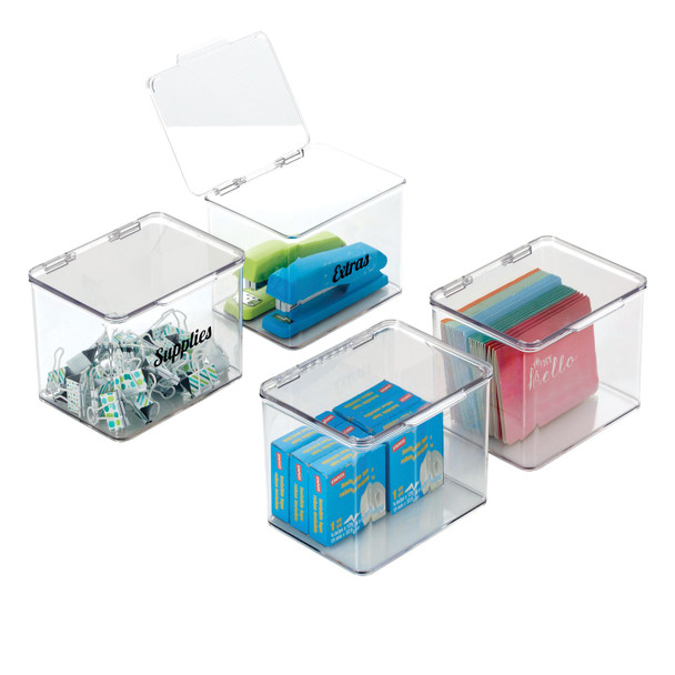 Plastic Stackable Office Organizer Bins with Labels