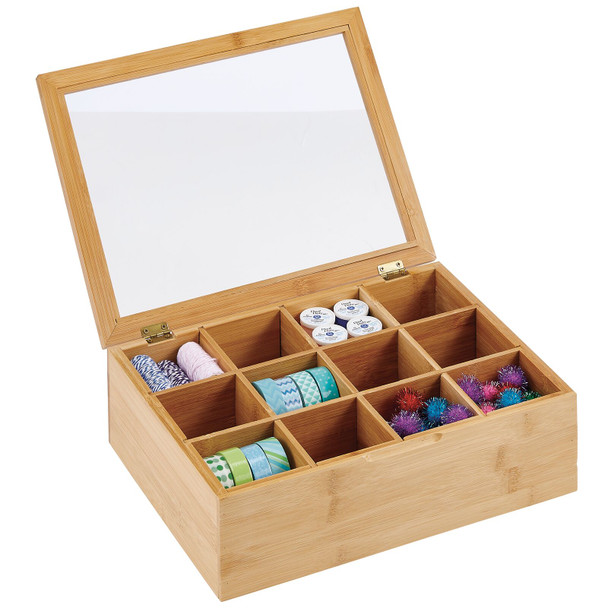 12 Compartment Bamboo Craft Organizer - Pack of 2