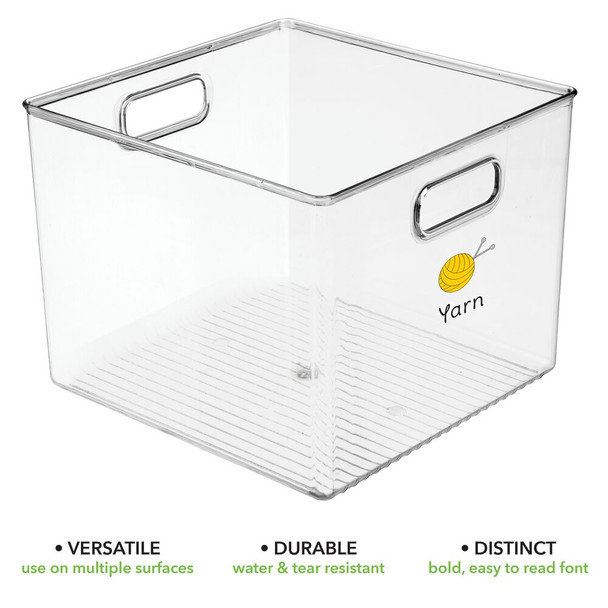 Deep Plastic Craft Storage Bins with Labels - Pack of 2