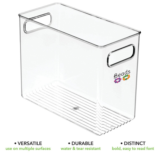 Open Top Plastic Office Bins with Labels - Pack of 4