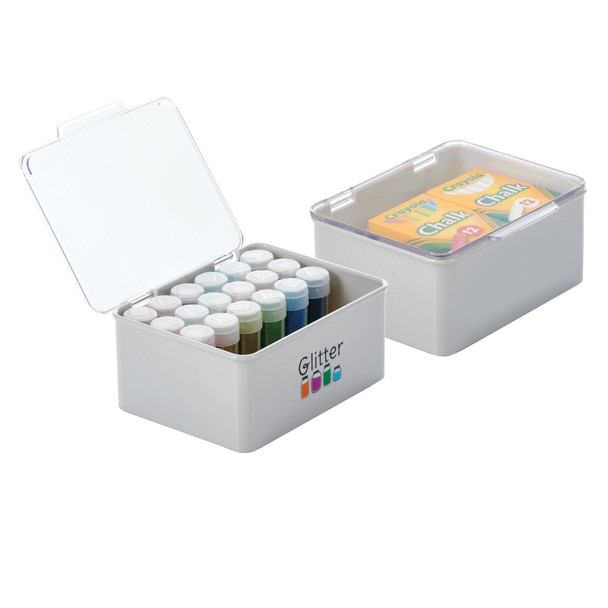 """Plastic Craft Storage Bin with Labels - 5.6"""" x 6.7"""" x 3"""" - Pack of 2"""