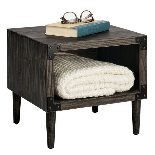 Distressed Short Wood Side Table with Black Metal Accents