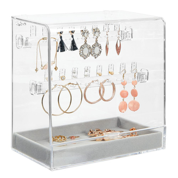 Acrylic Jewelry Earring Display Stand & Storage Tray - Clear/Gray