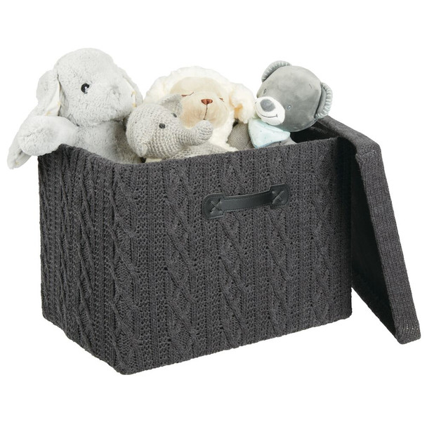 Small Knit Fabric Cube Storage Box with Lid