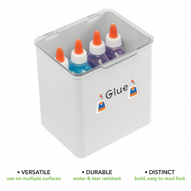 """Plastic Craft Storage Bin with Labels - 5.5"""" x 6.6"""" x 7"""" - Pack of 4"""