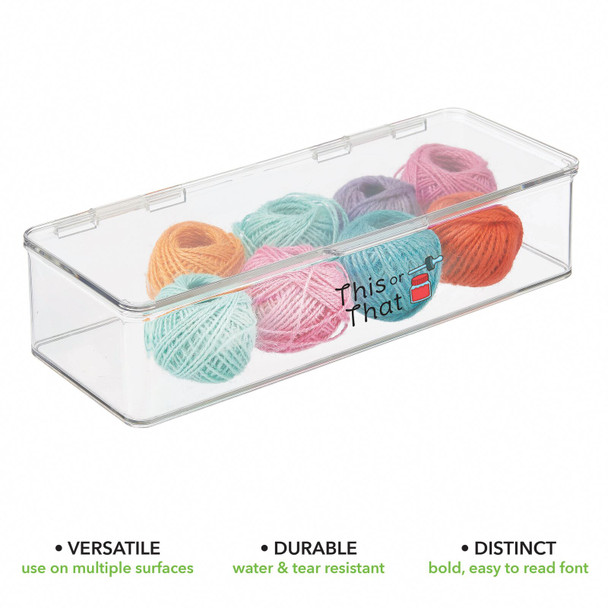 """Plastic Craft Storage Bin with Labels - 5.5"""" x 13.3"""" x 3"""" - Pack of 1"""