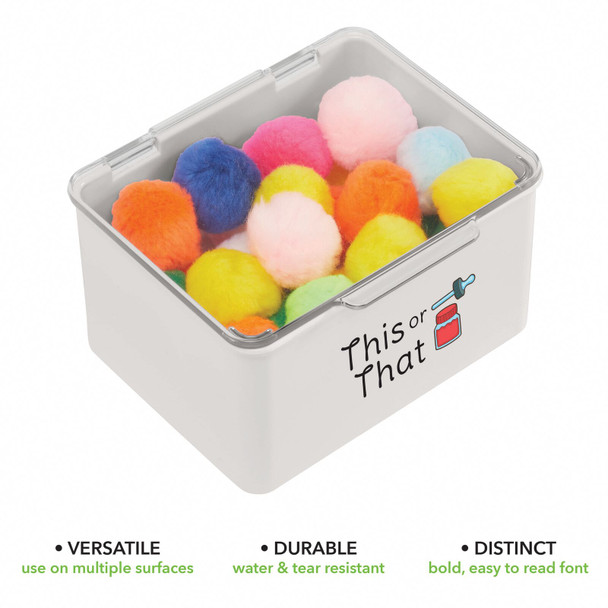 """Plastic Craft Storage Bin with Labels - 5.5"""" x 6.6"""" x 3.7"""" - Pack of 2"""