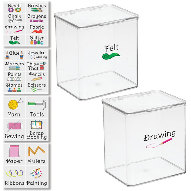 """Plastic Craft Storage Bin with Labels - 5.5"""" x 6.6"""" x 7"""" - Pack of 2"""