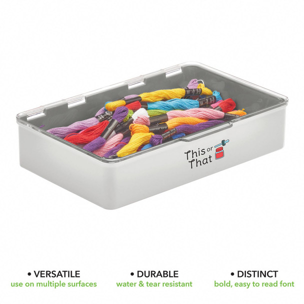 """Plastic Craft Storage Bin with Labels - 7.1"""" x 10.7"""" x 2.3"""" - Pack of 2"""