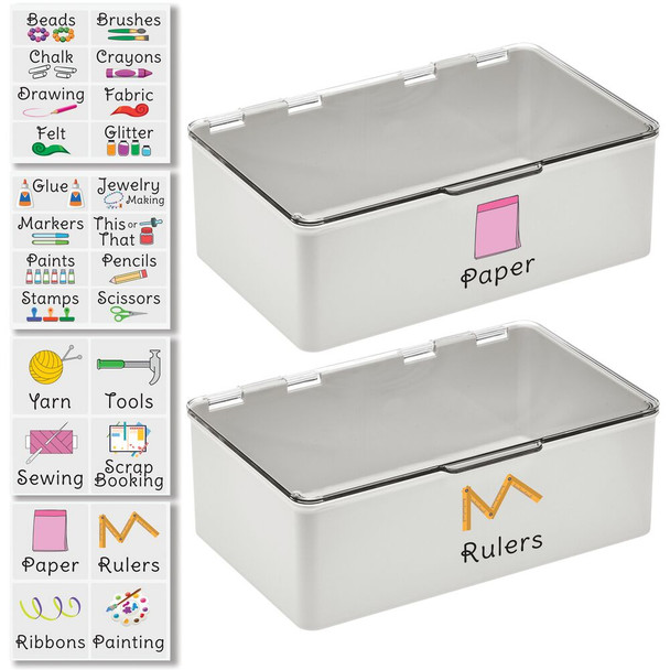 """Plastic Craft Storage Bin with Labels - 7.1"""" x 10.7"""" x 3.7"""" - Pack of 2"""