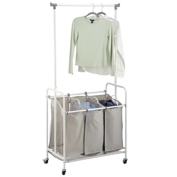3 Compartment Rolling Laundry Sorter with Hanging Bar - White