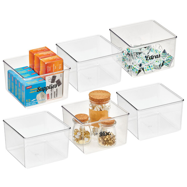 """Clarity Plastic Square Office Bin with Labels - 6"""" x 6"""" x 4"""""""
