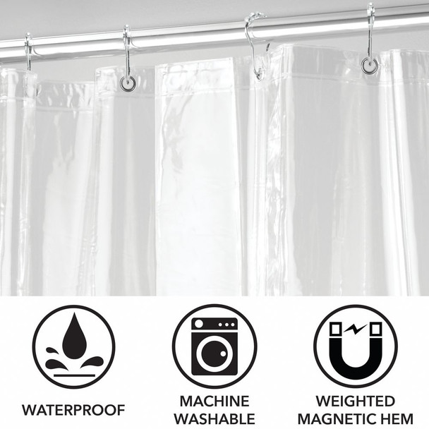X-LONG Vinyl Shower Curtain Liner & Rings - Clear