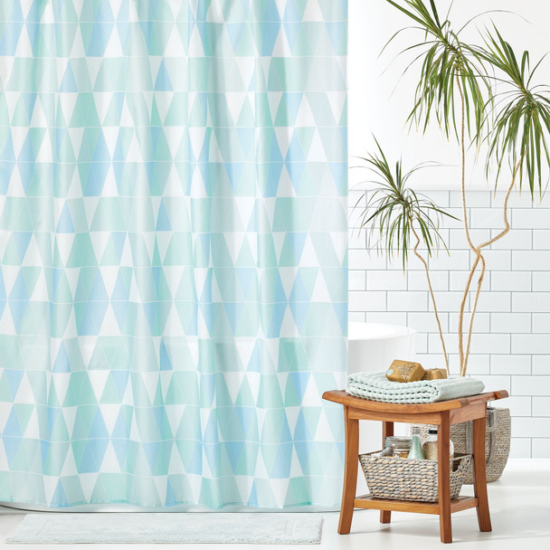 Stained Glass Triangle Print Shower Curtain