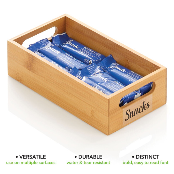 """Bamboo Bin with Labels for Kitchen - 11.5"""" x 6"""" x 3"""""""