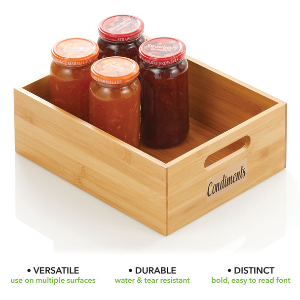 """Bamboo Bin with Labels for Kitchen - 12"""" x 9"""" x 4"""""""