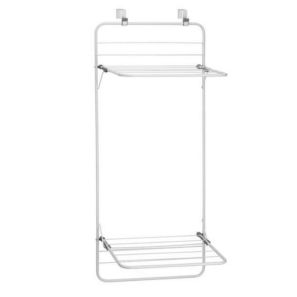 Over Door Laundry Clothes Drying Rack - White/Gray