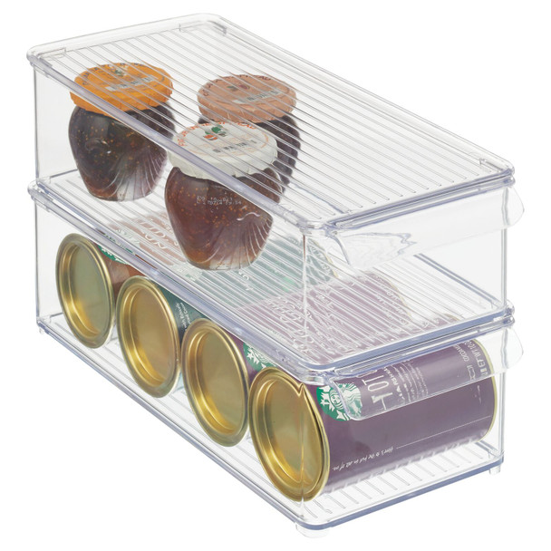 "Plastic Kitchen Pantry / Food Storage Bin Box with Lid - 14.5"" x 6"" x 4.25"""