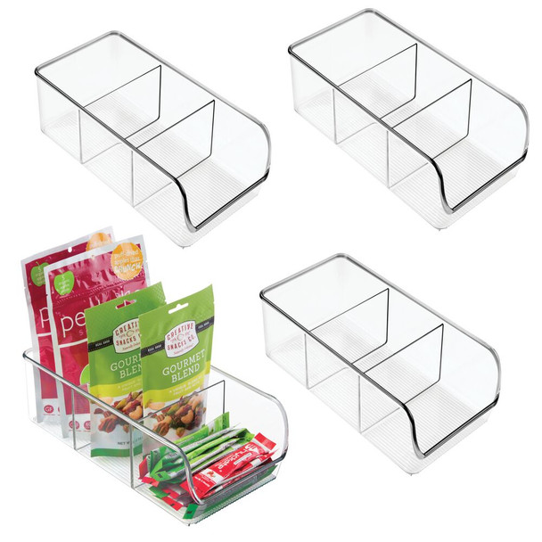3 Section Kitchen Pantry Food Storage Organizer Bin