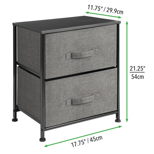 2 Drawer Side Table Storage Unit with Fabric Drawers