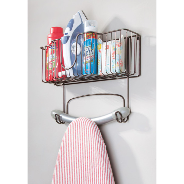 "Wall Mount Iron, Ironing Board Holder Storage Basket - 16.4"" Wide"