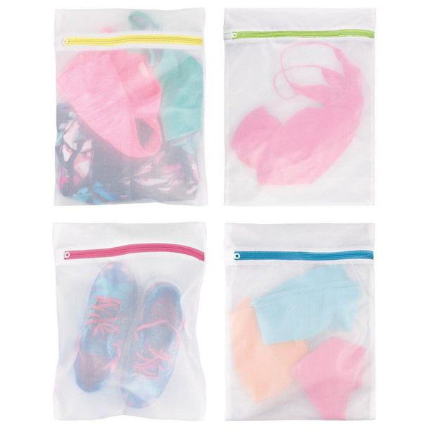 Mesh Laundry Wash Bag for Delicates, Bra, Lingerie - Multi-Colored Zippers, Pack of 4