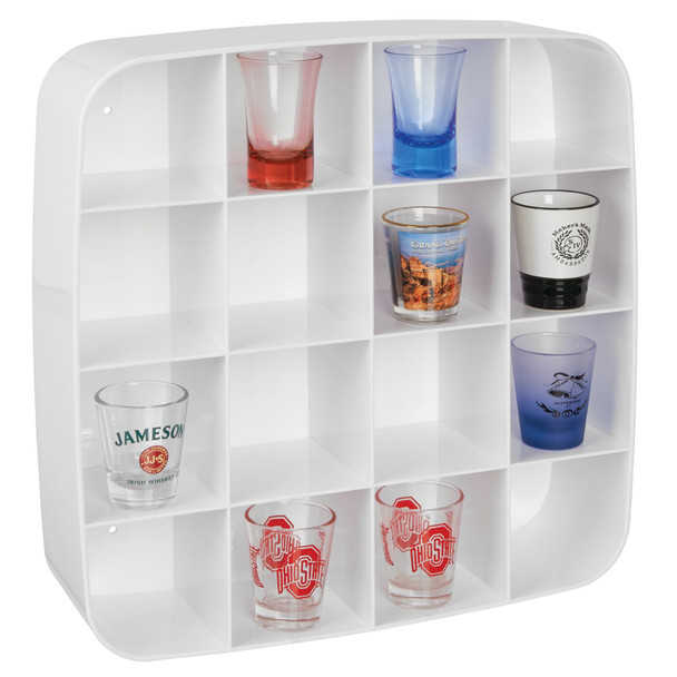 16 Section Plastic Wall Mount Collectibles Display Organizer