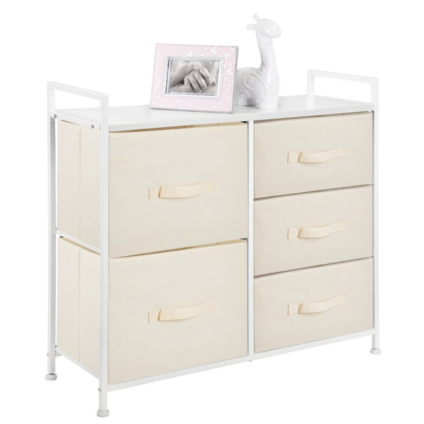 Wide Dresser 5 Drawer Storage Tower Organizer Unit