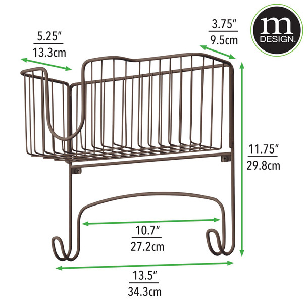 "Wall Mount Iron, Ironing Board Holder Storage Basket - 13.5"" Wide"