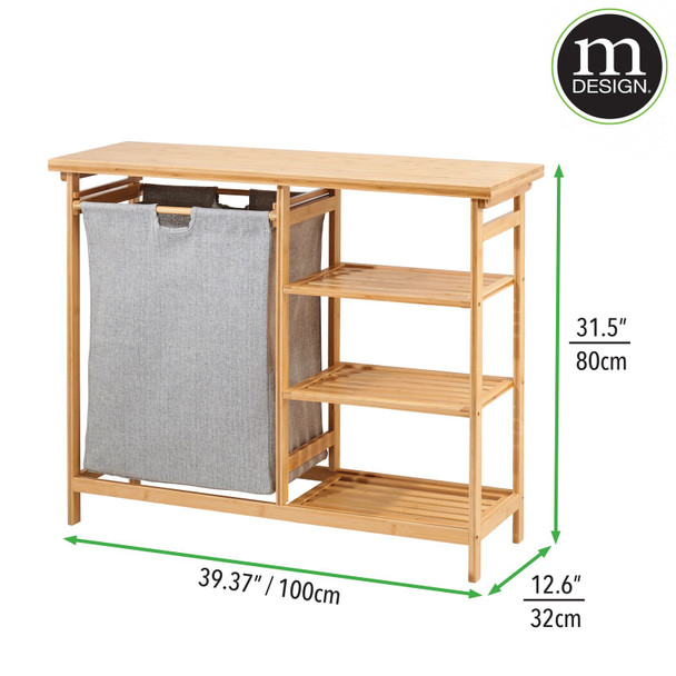 Laundry Hamper Sorter with Bamboo Storage Shelves