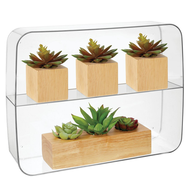 2 Shelf Plastic Wall Mount Collectibles Display Organizer