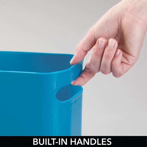 "Small Plastic Slim Trash Can Garbage Bin, 10"" High"
