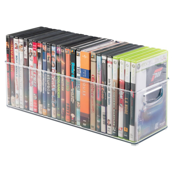 "Plastic Video Game Home Storage Organizer Bin - 16"" x 6"" x 5"""