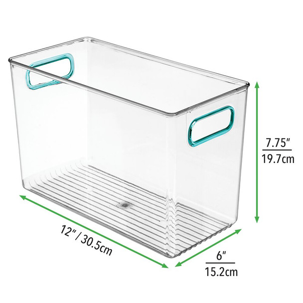 "Tall Plastic Baby + Kids Room Storage Bin 12"" x 6"" x 7.5"""