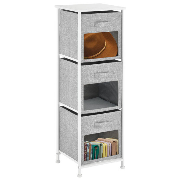Fabric Storage Table with Clear Front Windows