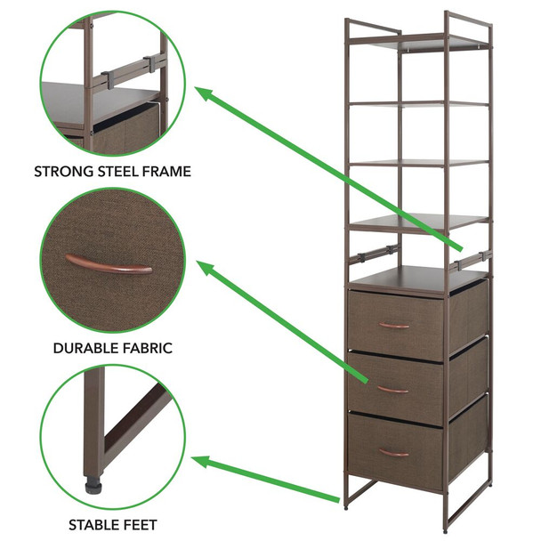 Tall Vertical Fabric Dresser Storage Organizer, 3-Drawer