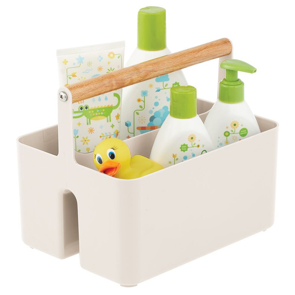 Plastic Portable Nursery Storage Caddy Tote with Wood Handle