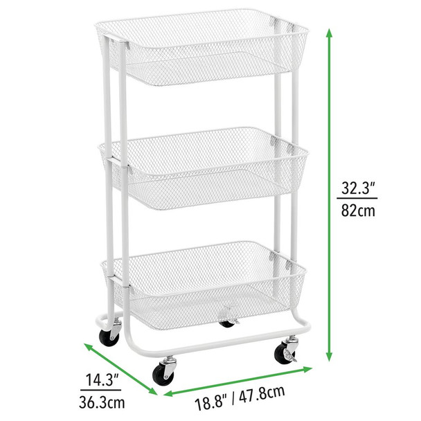 3 Tier Metal Rolling Household Storage Cart with Mesh Baskets
