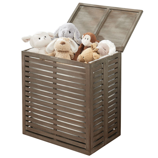 Bamboo Laundry Hamper Basket with Removable Liner and Decorative Wood Slats