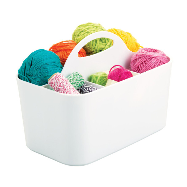Small Plastic Craft & Sewing Storage Organizer Caddy with Handle
