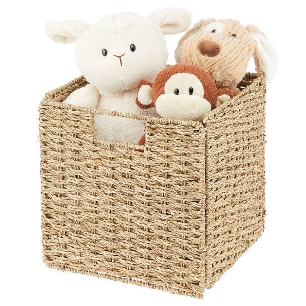 "Natural Woven Seagrass Storage Cube Bins - 10.5"" x 10.5"" x 10.5"""