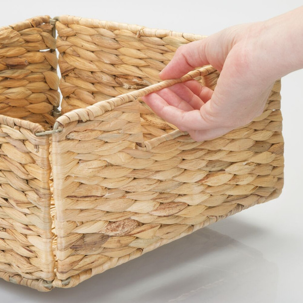 Natural Woven Hyacinth Storage Cube Basket - Pack of 2