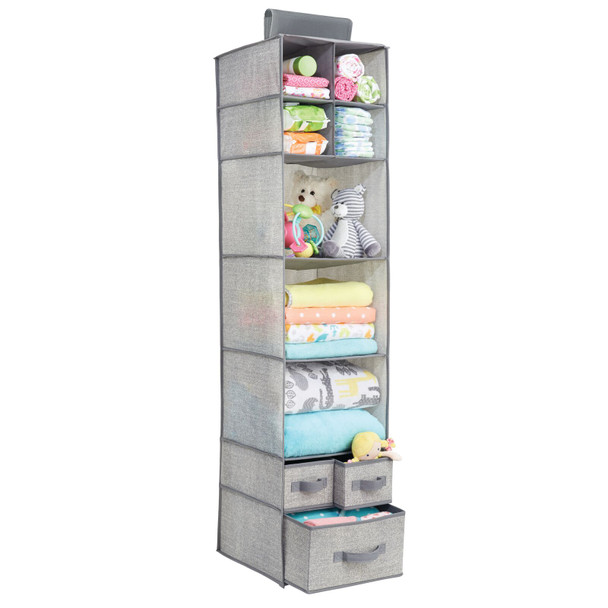 7 Shelf Fabric Kids Hanging Closet Nursery Organizer