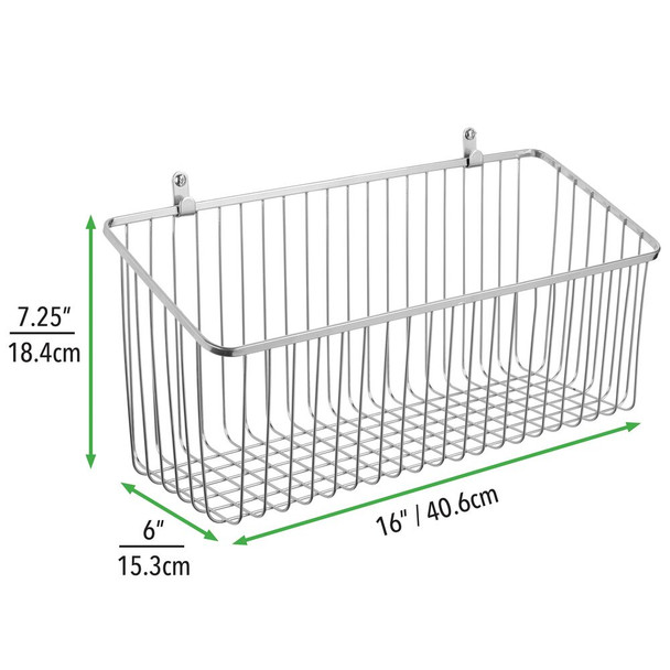 "Large Farmhouse Metal Wire Wall Mount Basket - 6"" x 16"" x 7.25"""
