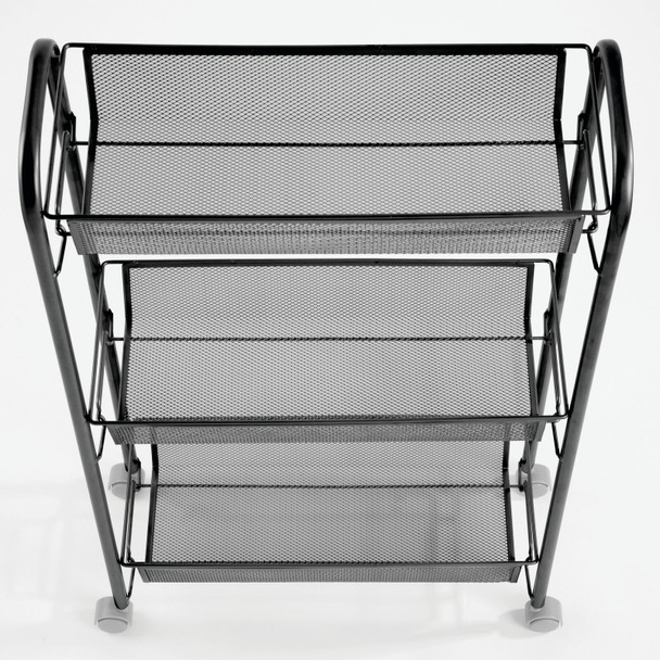 Slim Metal 3-Tier Rolling Laundry Cart Utility Shelf